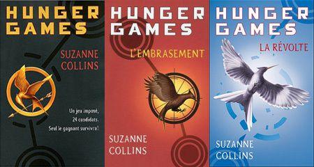 La trilogie Hunger Games, de Suzanne Collins (Hunger Games, L'embrasement, La révolte).
