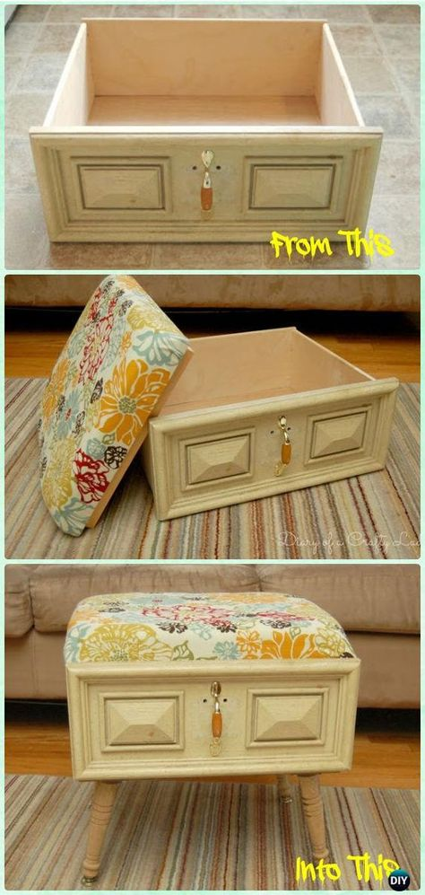 DIY Old Drawer Ottoman Instructions - Practical Ways to Recycle Old Drawers for . - DIY Old Drawer Ottoman Instructions – Practical Ways to Recycle Old Drawers for Home fu - Refurbished Furniture, Repurposed Furniture, Furniture Makeover, Painted Furniture, Vintage Furniture, Diy Furniture Repurpose, Handmade Furniture, Primitive Furniture, Chair Makeover