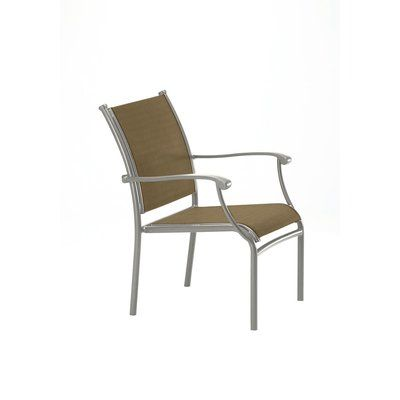 Tropitone Sorrento Stacking Patio Dining Chair Fabric Gold Coast