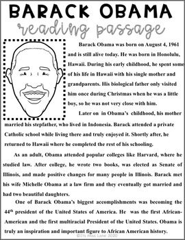 Barack Obama Close Reading Poster Newspaper Report And Writing Activities Writing Activities Reading Passages Close Reading Strategies Barack obama worksheets for kindergarten