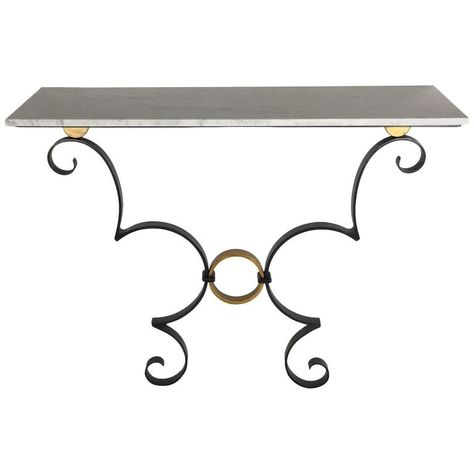 Handmade Iron Work Black And Gold Console Table With White Carrara Marble Top Marble Top Carrara Marble Console Table