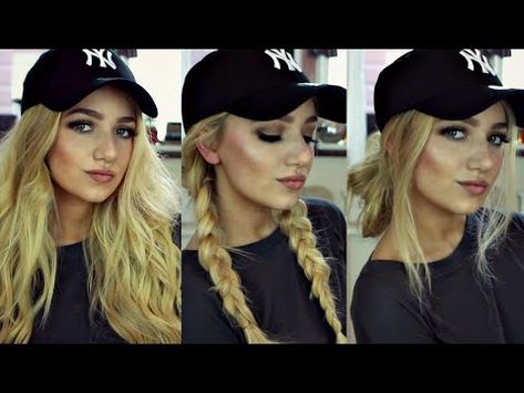Ideas Hat Hairstyles Curls Baseball For 2019 Instagram Baddie, Work Hairstyles, Trendy Hairstyles, Hairstyles With Hats, Braided Hairstyles, Medium Hairstyles, Baseball Cap Hairstyles, My Hairstyle, Hair Day