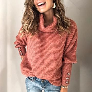Casual Pure Colour High Collar Sweater in 2020 | Casual