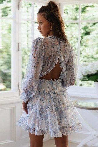 Sukienka Blekitna W Kwiaty Odkryte Plecy Boho Falbanki Long Sleeve Ruffle Dress Ruffle Dress Puff Sleeve Midi Dresses