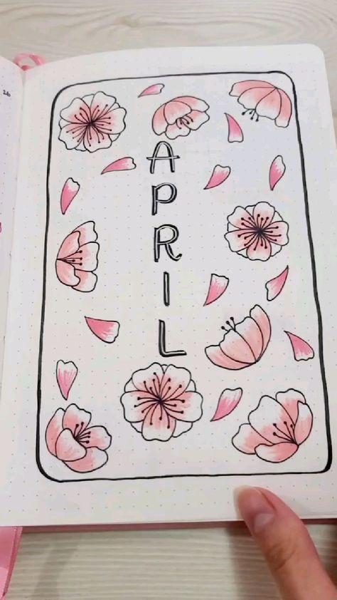 April Bullet Journal Setup: Cherry Blossom Theme