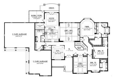 Home Plans HOMEPW76545 - 3,794 Square Feet, 3 Bedroom 3 Bathroom Ranch Home with 4 Garage Bays