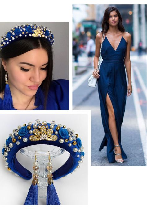 Blue crystal headband hairstyle for women, crown tiara for prom
