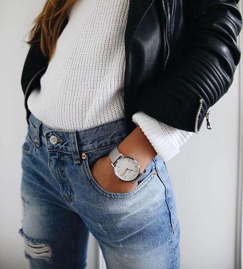 sweater + leather jacket