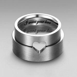 'I want your love' Engraved Matching Heart Wedding Ring/His and Hers Ring // I don't like the engraving, but I like the heart concept