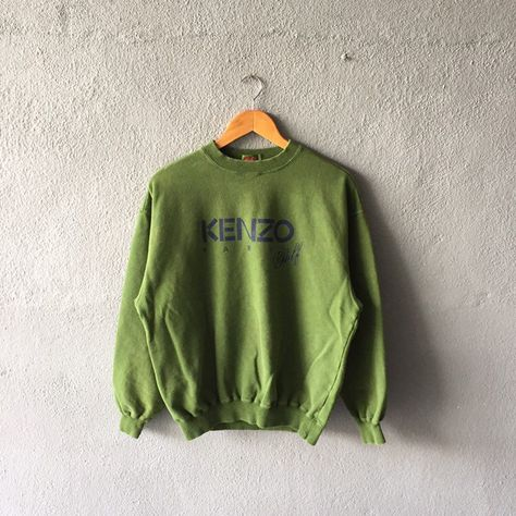 a84d44b9c Vintage 90s Kenzo Golf Spellout Printed Sweatshirt Crewneck Kenzo Golf  Pullover Green Colour Size M