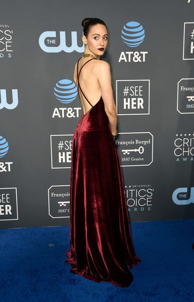 Emmy Rossum attends the 24th annual Critics' Choice Awards at Barker Hangar.
