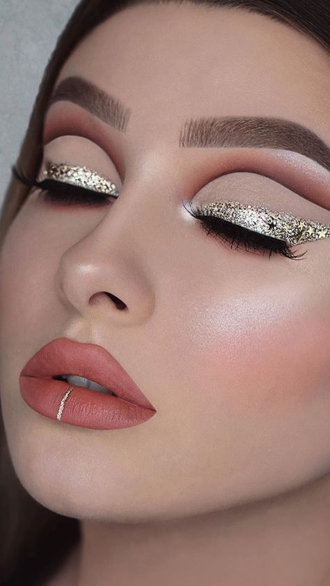 Gold Eyes & Brown Cut Crease Eye Makeup Tutorial for Fall