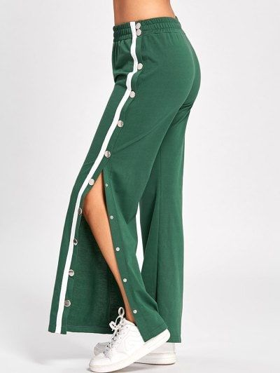bb603cc6ac SHARE & Get it FREE | Side Slit Button Up Wide Leg Pants - Green MFor  Fashion Lovers only:80,000+ Items • New Arrivals Daily Join Zaful: Get YOUR  $50 NOW!