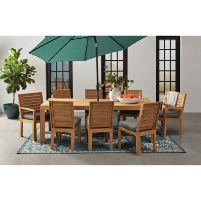 Member S Mark 9 Piece Teak Dining Set Sam S Club In 2020 Deep Seating Patio Set Outdoor Furniture Sets
