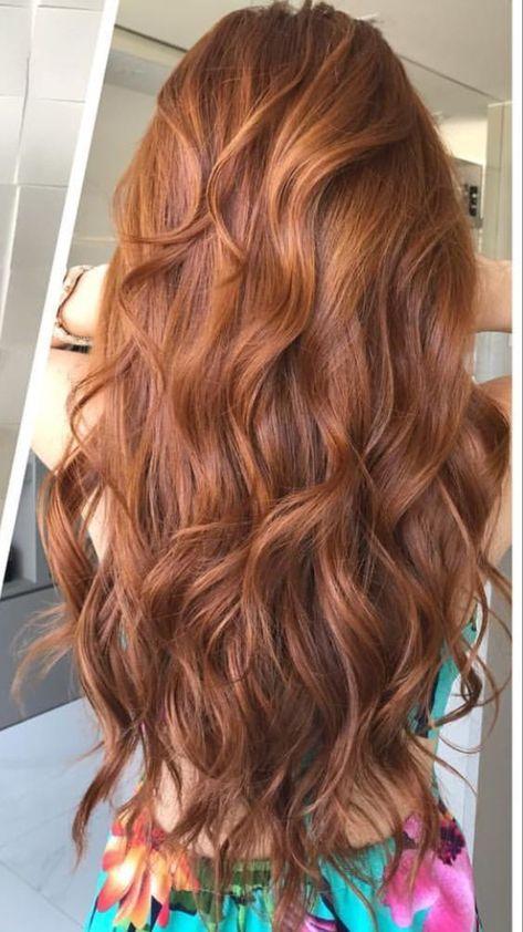 Cute red hair color on long wavy hair