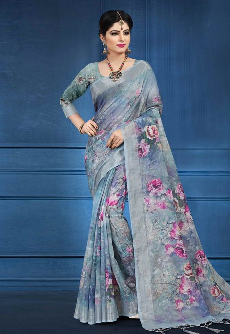 1968726330282a Buy Gray Linen Festival Wear Saree 161578 with blouse online at lowest price  from vast collection of sarees at Indianclothstore.com.