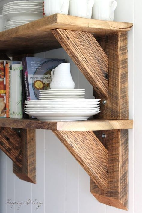 LOVE these chunky shelves. Gonna use this design for boys bathroom shelves! Thank you Keeping It Cozy: Reclaimed Wood Kitchen Shelves Reclaimed Wood Kitchen, Reclaimed Wood Shelves, Reclaimed Wood Projects, Scrap Wood Projects, Home Projects, Kitchen Wood, Barn Wood Shelves, Cozy Kitchen, Salvaged Wood