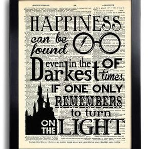 Harry Potter Happiness Can Be Found Quote Potter Poster Print On Dictionary Paper Kid Room De Harry Potter Room Decor Harry Potter Decor Harry Potter Bedroom