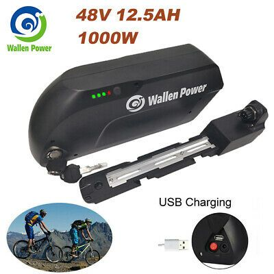 48V 12.5AH TIGER SHARK Lithium Battery Pack 500W Electric Bicycles E-Bike Black