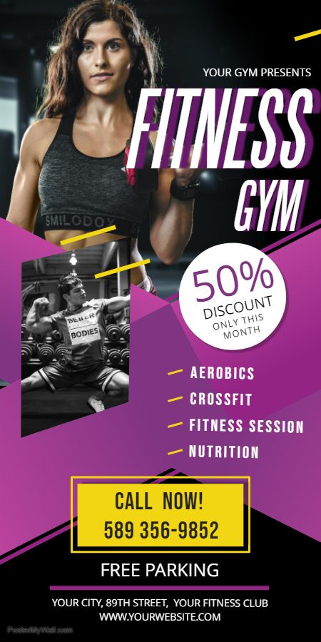 Fitness/gym classes advertisement roll up banner template
