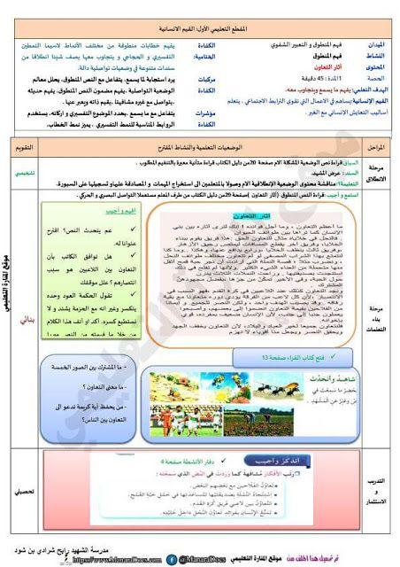 مذكرات السنة الخامسة 5 ابتدائي في اللغة العربية المقطع الاول الاسبوع الثاني التعاونية المدرسية Journal Bullet Journal