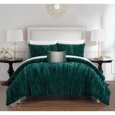 River Street Designs Kerk 8 Piece Comforter Set Crinkle Crushed Velvet Bed In A Bag Queen Green Walmart Com Bed Comforter Sets Velvet Comforter Comforter Sets