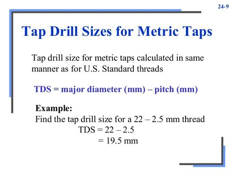 Image result for calculating metric tap drill size Millwright - sample tap drill chart