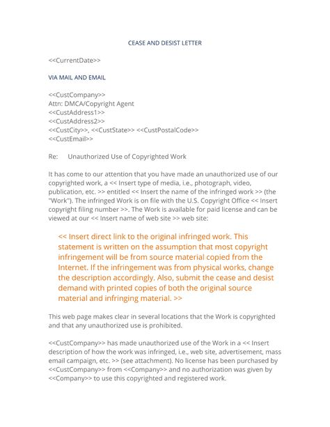 How To Write Your Own Copyright Cease And Desist Notification Form