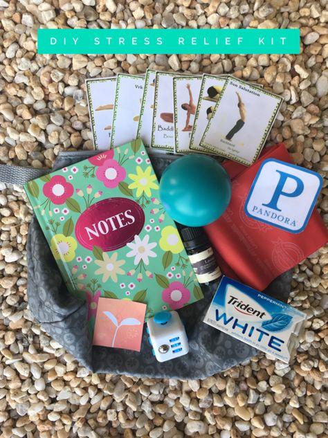 DIY Stress Relief Kit #stress #mentalhealth #DIY #takingcareofyourself #athome #life #personalhealth #pandora #gym #yoga #yogaposes #journal #fidget #stressball #stressreleif #essentialoils #lavandar #ThinkUp #loveyourself
