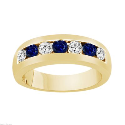 Alternating Sapphire And Diamonds Wedding Band Yellow Gold Blue Sapphire Mens Wedding Rin Diamond Wedding Bands Yellow Gold Diamond Wedding Band Wedding Rings