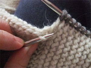 The difference between pick up and knit and pick up via the yarn harlot.