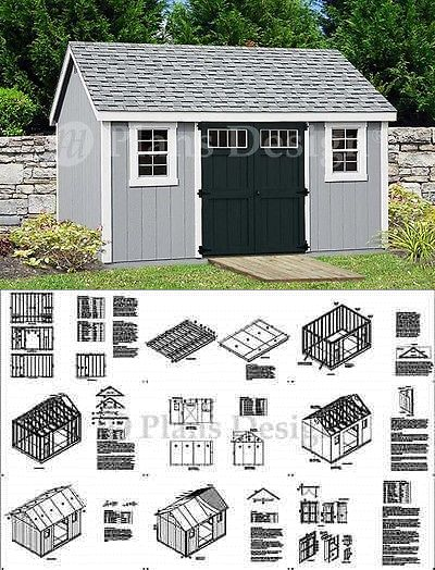 Garden Storage Shed Plans 10 X 14 Gable Roof Design D1014g Free Material List Shed Plans Shed House Plans Shed
