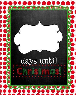 Days Until Christmas Printable.Days Until Christmas Chalkboard Edition Christmas Countdown