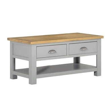 Linden Grey Farmhouse Coffee Table With Light Oak Top Living Room Coffee Table Coffee Table Painted Coffee Tables