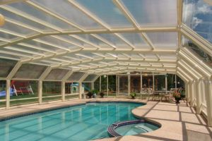 Retractable Glass Pool Domes Manufactured By Roll A Cover Indoor Outdoor Pool Pool Enclosures Retractable Pool Cover