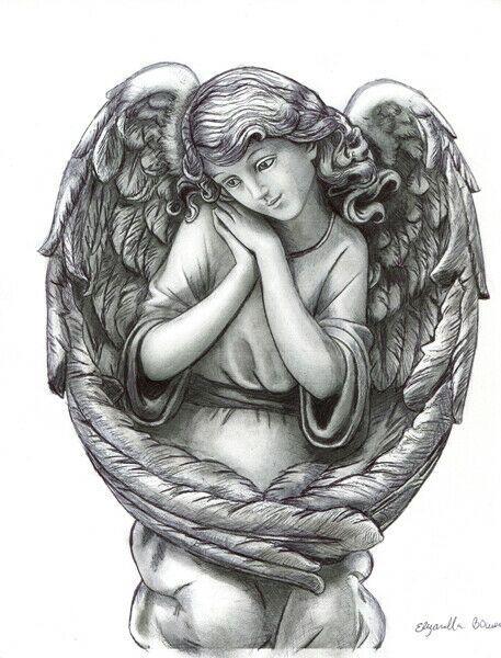 Young Angel Girl Pen Ink Drawing Original Art Fantasy Bla Fantasy