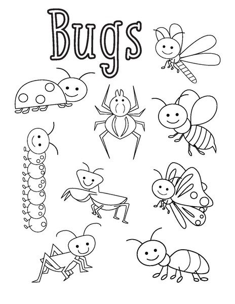 Bugs Coloring Pages Funny Crafts In 2020 Bug Coloring Pages Insect Coloring Pages Free Printable Coloring Pages