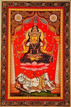 La representación más famosa de Tripura Sundari