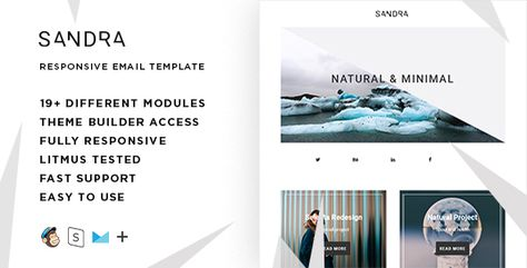 Sandra  — Responsive HTML Email + StampReady, MailChimp & CampaignMonitor compatible files | Stylelib