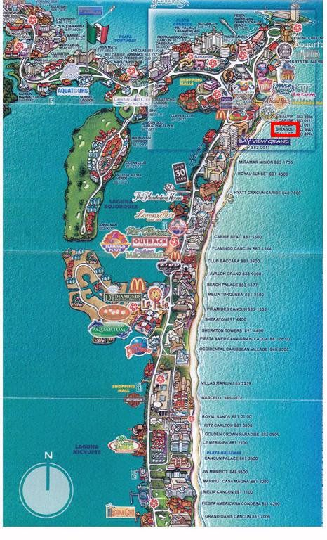 Cancun tourist map