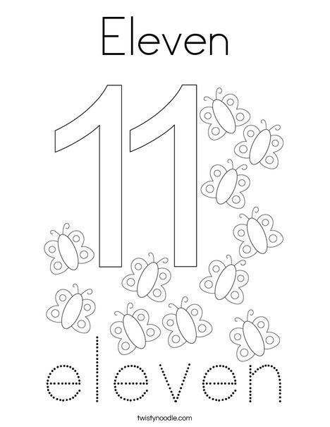 Eleven Coloring Page Twisty Noodle Coloring Pages Numbers Preschool Letter A Crafts