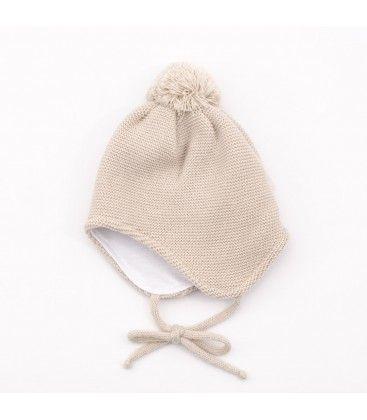 991fe82d372ae Gorro celeste para bebé con bufanda incorporada
