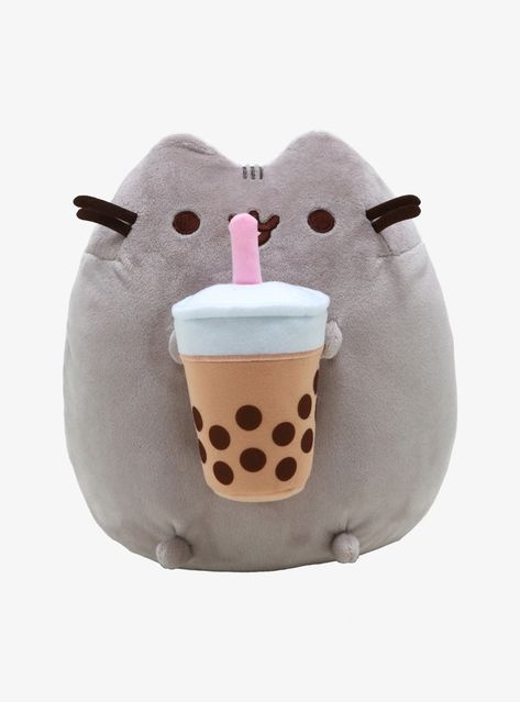 We can't resist a yummy boba tea and neither can Pusheen! This plush of our favorite grey kitty is holding a cup of boba with a pink straw in between her front paws. Pusheen Stuffed Animal, Cute Stuffed Animals, Kawaii Room, Kawaii Diy, Polymer Clay Kawaii, Softie Pattern, Cute Pillows, Cute Plush, Cute Toys