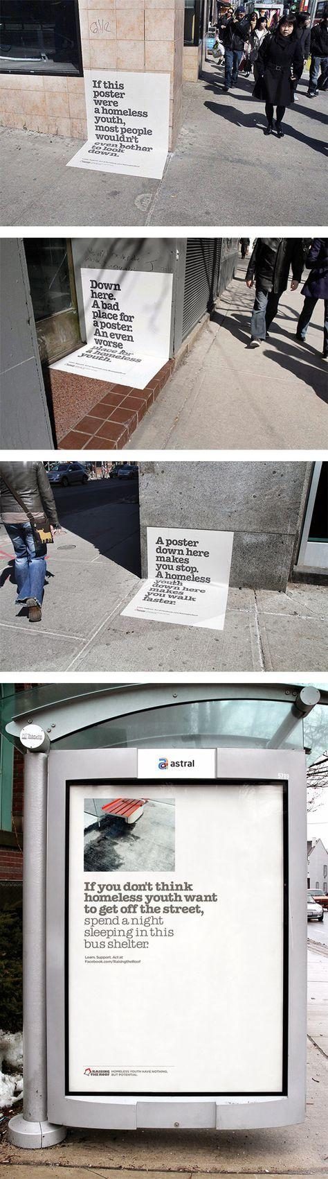 Campagne d'affiches et sans-abris.