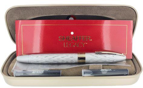 "Sheaffer 100 Fountain Pen ""F"" Nib Red Pattern"