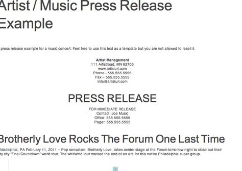 Reference for Press Kit Assignment Example of Press Release - press release template sample