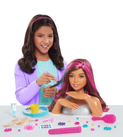 2018 Barbie Color Style Deluxe Styling Head Brown Hair Brunette Pink Silver Glitt Brown And Pink Hair Black American Hair African American Hairstyles
