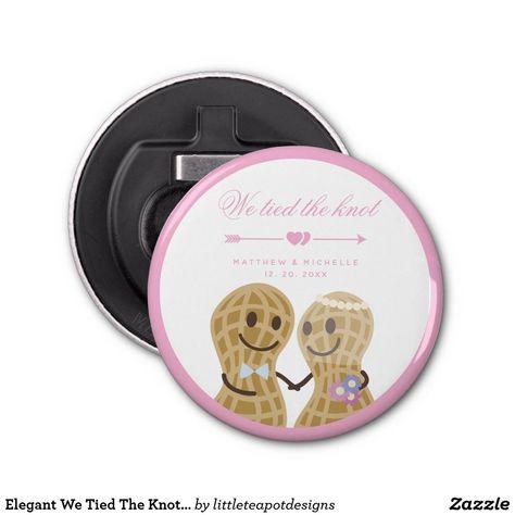 Elegant We Tied The Knot Cute Wedding Announcement Bottle Opener #bottleopener #weddingfavors #weddings #guestfavors #ad