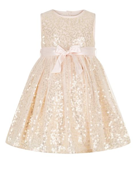 1a0f3909ac15 Sparkle and shine! Our Evelina mesh dress for baby girls is embellished  with all-over sequins, and cinched at the waist with a detachable satin  ribbon.