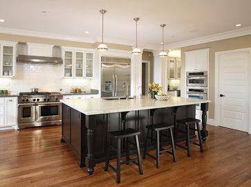 White Kitchen Black Island white cabinets, black island, subway tile backsplash #53 - owner